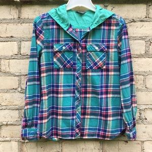 Plaid Flannel Hooded Button Up Eddie Bauer Small